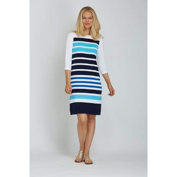 Stripe Sweater Dress - White Cbo - Dress