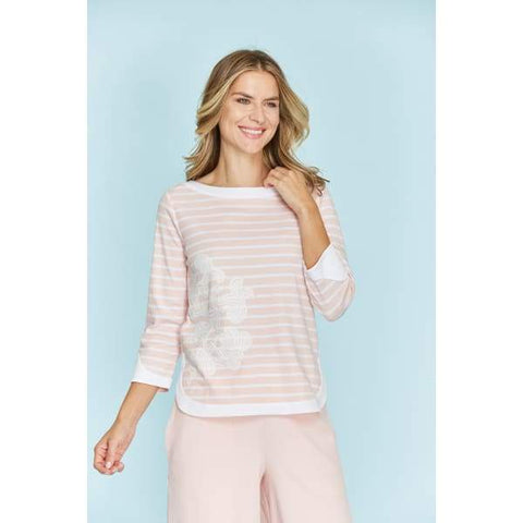 Stripe Zip Back Top - Blossom/ White - Top