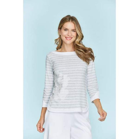 Stripe Zip Back Top - Grey/ White - Top