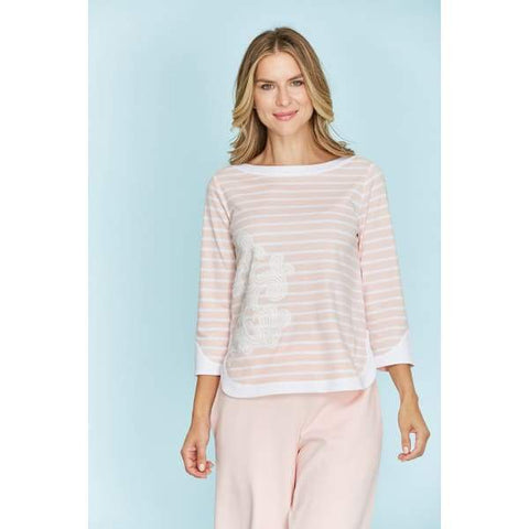 Stripe Zip Back Top - Top