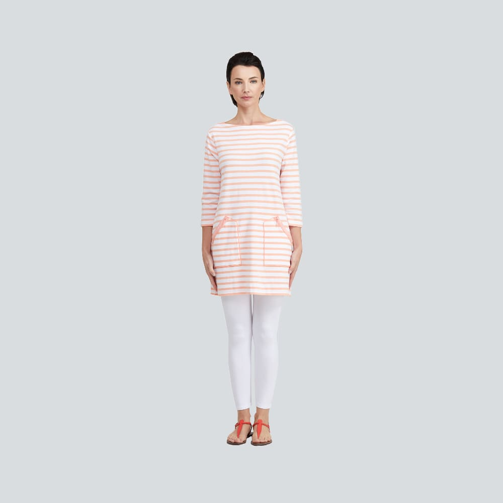 Striped 2 Pocket Tunic - Coral Combo - Top