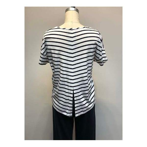 Striped Boxy Uneven Hem Top - Top