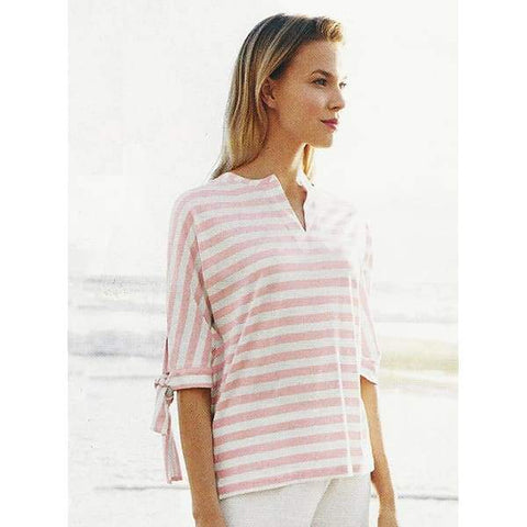 Striped Tunic with Tie Sleeves - Blossom Cbo - Top