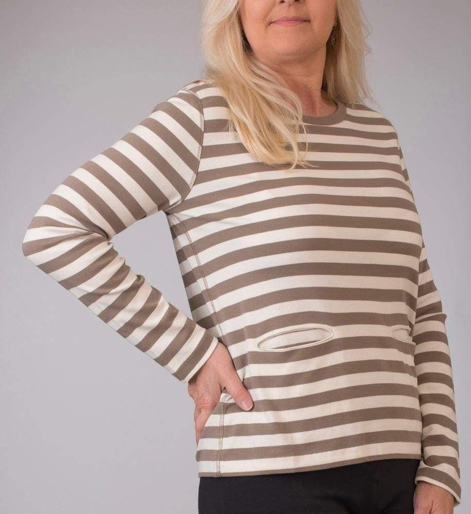 Taupe Long Sleeve Stripe Top - 0P / Taupe - Top