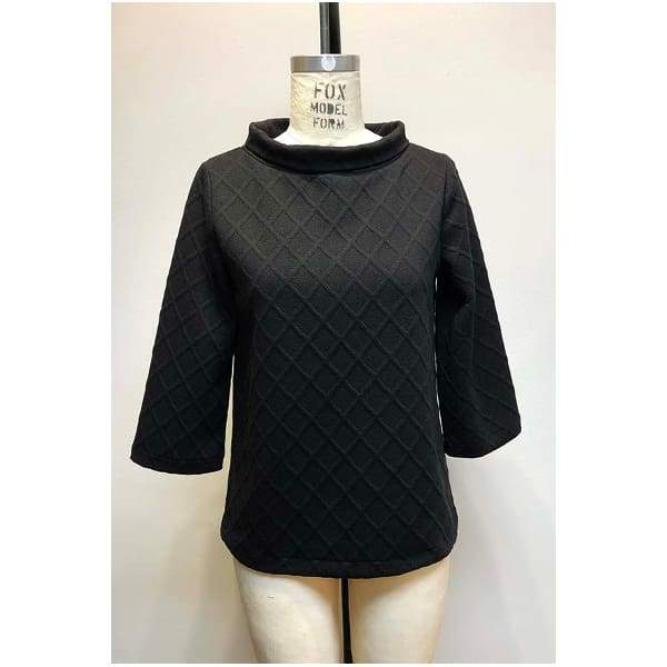 Textured Popover Top - Black - Top