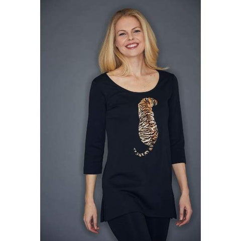 Tiger Sequin Tunic - Black - Tunic
