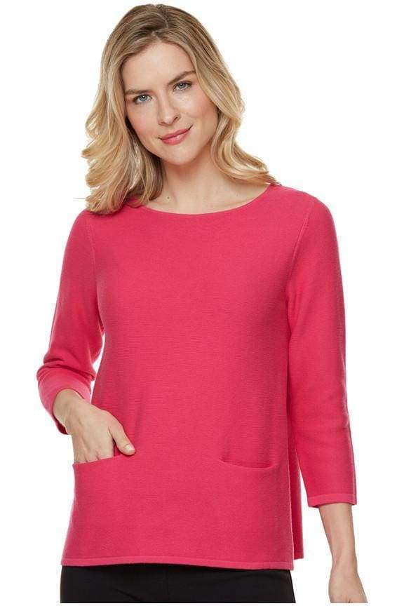 Two Pocket Hot Pink Sweater - Hot Pink - Sweater