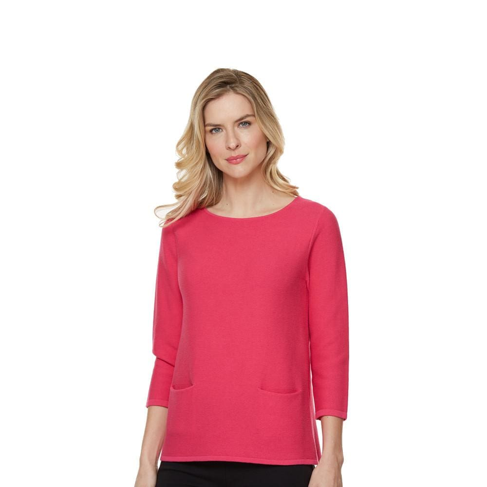 Two Pocket Hot Pink Sweater - Sweater