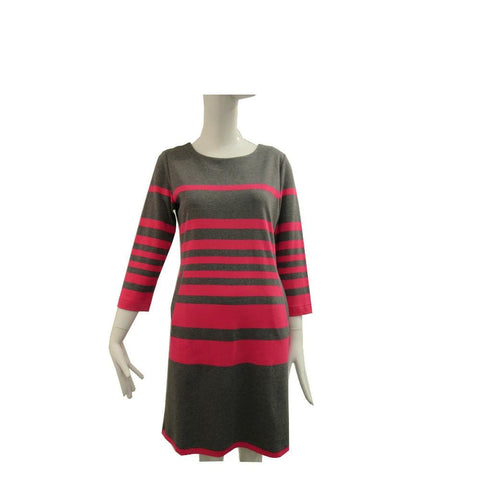 Two Pocket Striped Dress - Charcoal/ Hot Pink - Dress