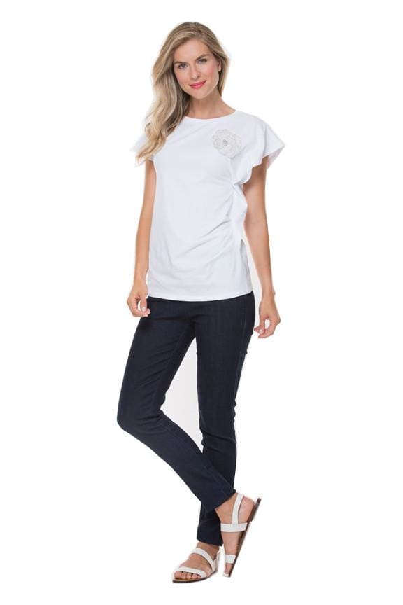 White Rouched Tee with Flower Pin - Top