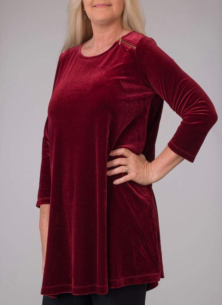 Wine Velour Tunic - Wine - Tunic