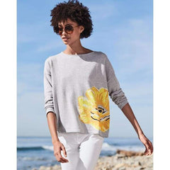 Yellow Flower Sweater - Grey Heather - Sweater
