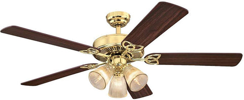 52 Inch Vintage Indoor Ceiling Fan with Dimmable LED Light Fixture and Clear Ribbed Glass in Polished Brass Finish with Reversible Walnut/Oak Blades