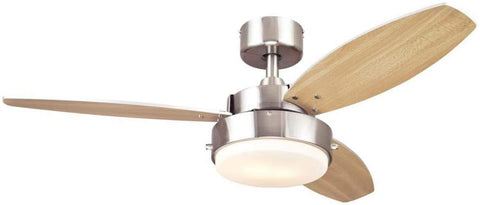 42-Inch Alloy Indoor Ceiling Fan in Brushed Nickel Finish with LED Light Fixture in Opal Frosted Glass with Reversible Beech/Wengue Blades