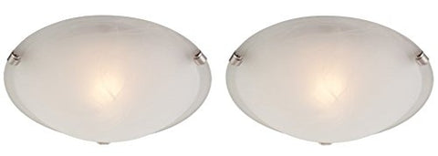 One-Light Indoor Ceiling Fixture White and Brushed Nickel Finish with White Alabaster Glass