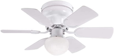 30-Inch Indoor Ceiling Fan in White Finish with Dimmable LED Light Fixture in Opal Mushroom Glass with Reversible White/White Washed Pine Blades