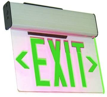Single Face Edge Lit Emergency Exit Sign with Battery Backup - Clear Panel (Green)
