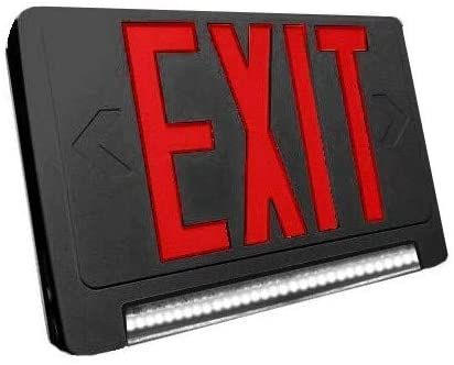 LED Red Exit Sign & Emergency LED Lightpipe Combo with Battery Backup - Black Housing
