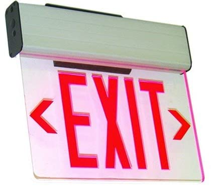 Single Face Edge Lit Emergency Exit Sign with Battery Backup - Clear Panel (Red)