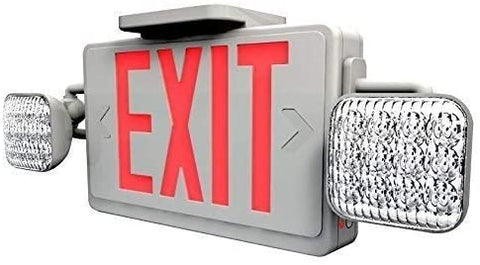 Emergency LED Exit Sign Combo with 90-Minute Battery Backup and Adjustable Ultra-Bright LED Lamps