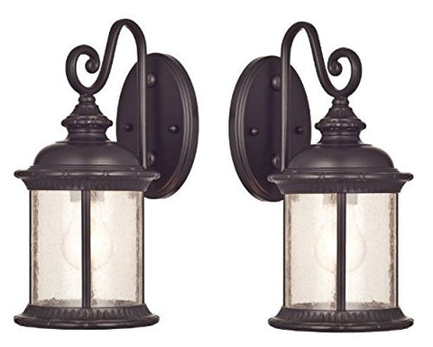 Ciata Lighting One-Light Exterior Wall Lantern on Steel with Clear Seeded Glass, Oil Rubbed Bronze Finish-Pack of 2