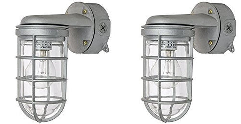Ciata Lighting Wall Mount Vaporproof Industrial Fixture, Metallic Finish, Clear Lens, Aluminum wires - Pack of 2