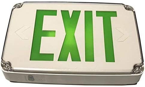Green LED Compact Outdoor Exit Sign for Wet Location with Battery Backup