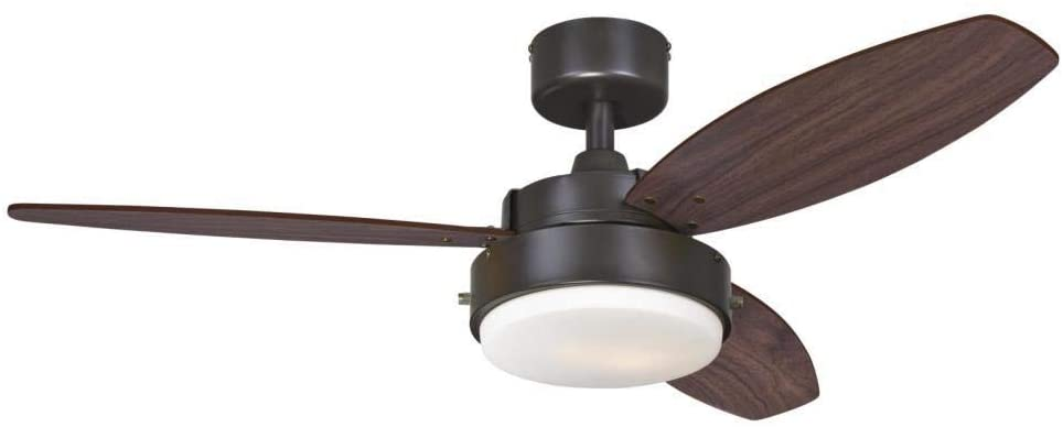 42-Inch Alloy Indoor Ceiling Fan in Oil Rubbed Bronze Finish with LED Light Fixture in Opal Frosted Glass with Reversible Walnut/Family Oak Blades