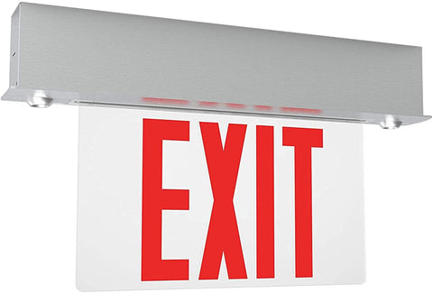 Surface 6-inch Red Letter Edge-Lit Exit/Emergency Sign in Aluminium Housing,120-277V, 250 Lumens, UL listed, CEC Qualified, Manual Test Function and Battery Backup