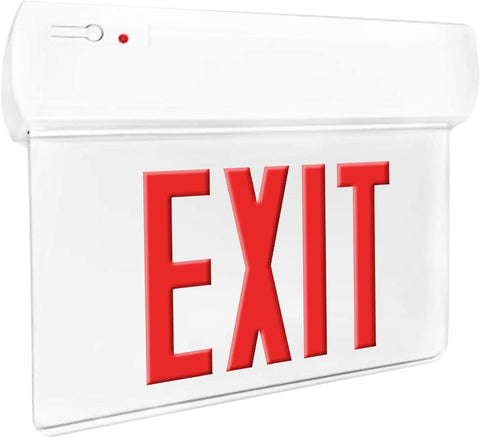 Single Face LED Red Letter Edgelit Economy Exit Sign in Thermoplastic Housing, UL Listed, NEC Qualified, Manual Test Function and Battery Backup