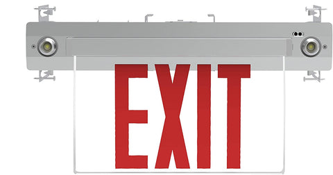 Recessed 6-inch Red Letter Edge-Lit Exit/Emergency Sign in Aluminium Housing,120-277V, 250 Lumens, UL listed, CEC Qualified, Manual Test Function and Battery Backup