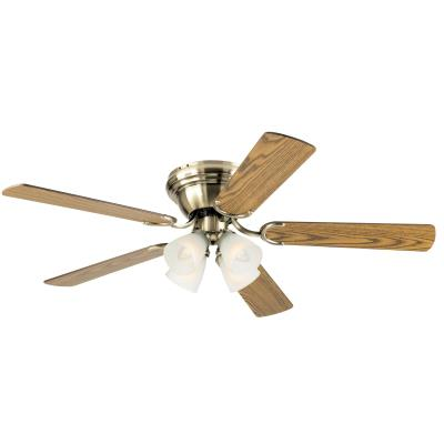 Ciata Lighting 52 Inch Contempora IV Antique Brass Finish Indoor Ceiling Fan with Dimmable LED Light Fixture in Frosted Ribbed Glass with Reversible Oak/Walnut Blades