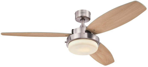 52 Inch Alloy Indoor Ceiling Fan in Brushed Nickel Finish with LED Light Kit in Opal Frosted Glass with Reversible Beech/Wengue Blades