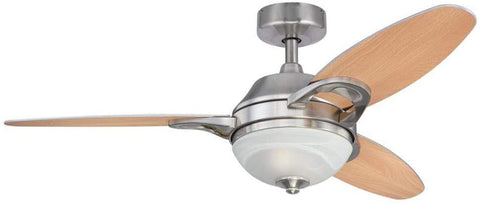 46-Inch Arcadia Indoor Ceiling Fan in Brushed Nickel Finish with Dimmable LED Light Fixture with Reversible Beech/Weathered Maple Blades and Remote Control