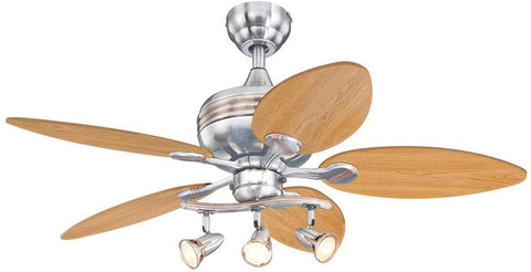 44-Inch Xavier Indoor Ceiling Fan with Dimmable LED Light Fixture and Spotlight in Brushed Nickel Finish with Copper Accents and Reversible Maple/Mahogany Blades