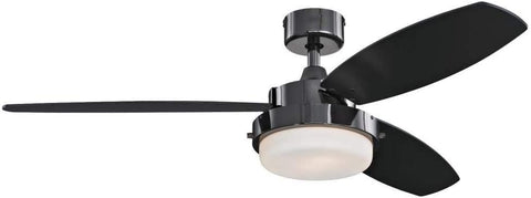 52 Inch Alloy Indoor Ceiling Fan in Gun Metal Finish with LED Light Kit in Opal Frosted Glass with Reversible Black/Applewood Blades
