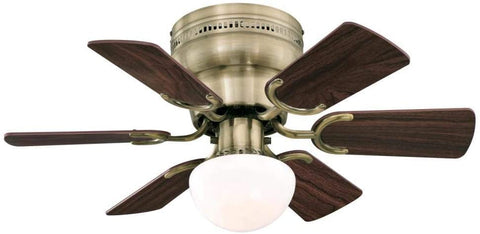 30-Inch Indoor Ceiling Fan in Antique Brass Finish with Dimmable LED Light Fixture in Opal Mushroom Glass with Reversible Walnut/Oak Blades