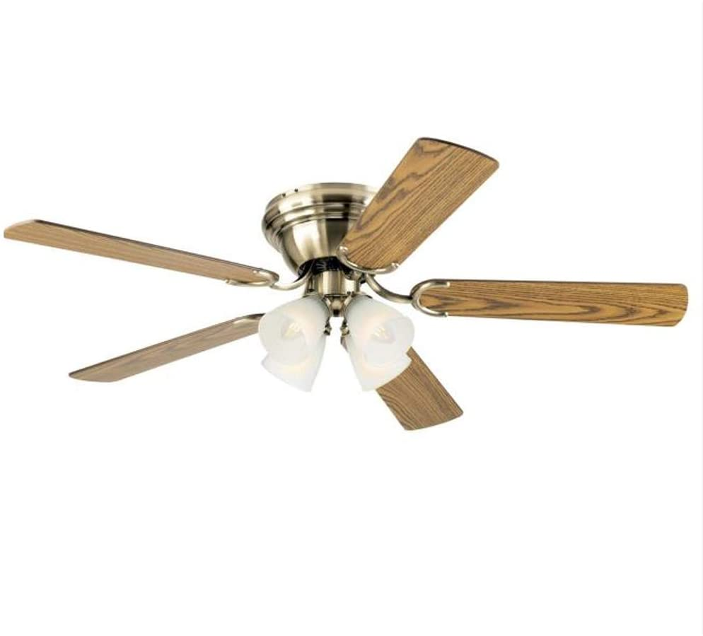 52 Inch Contempora IV Antique Brass Finish Indoor Ceiling Fan with Dimmable LED Light Fixture in Frosted Ribbed Glass with Reversible Oak/Walnut Blades