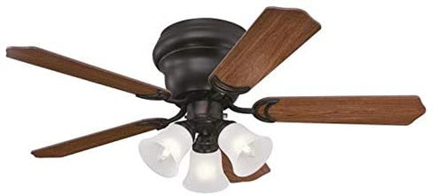 42 Inch Contempra Trio Oil Rubbed Bronze Finish Indoor Ceiling Fan with Dimmable LED Light Fixture in Frosted Glass with Reversible Dark Cherry/Walnut Blades