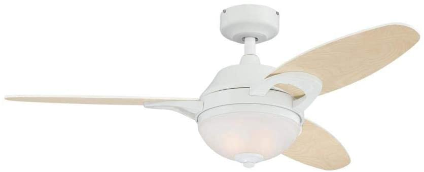 46-Inch Arcadia Indoor Ceiling Fan in White Finish with Dimmable LED Light Fixture in Frosted White Alabaster Glass with Reversible Light Maple/White Blades and Remote Control