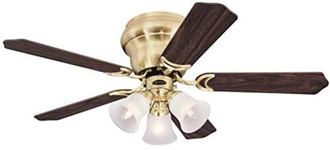 42 Inch Contempra Trio Satin Brass Finish Indoor Ceiling Fan with Dimmable LED Light Fixture in Frosted Glass with Reversible Walnut/Maple Blades