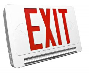 LED Red Exit Sign & Emergency LED Lightpipe Combo with Battery Backup