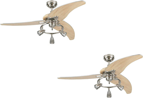48-Inch Brushed Nickel Indoor Ceiling Fan, Light Kit with Three Spotlights (Brushed Nickel 2 Pack)