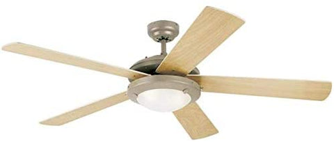 52-Inch Comet Indoor Ceiling Fan in Brushed Pewter Finish with Dimmable LED Light Fixture in Frosted Glass with Reversible Light Maple/White Blades