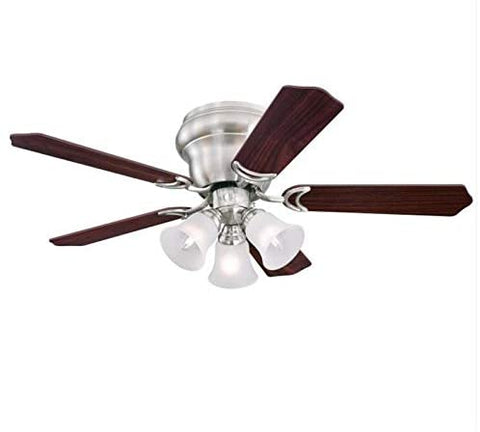 42 Inch Contempra Trio Brushed Nickel Indoor Ceiling Fan with Dimmable LED Light Fixture in Frosted Glass with Reversible Rosewood/Birds Eye Maple Blades