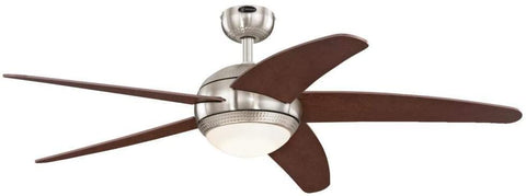 52 Inch Bendan Brushed Nickel Finish Hammered Accents Indoor Ceiling Fan with Dimmable LED Light Fixture in Opal Frosted Glass with Catalpa Wood Blades and Remote Control