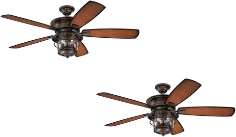 52-Inch Aged Walnut Indoor/Outdoor Ceiling Fan, Light Kit with Clear Seeded Glass (2 Fans)