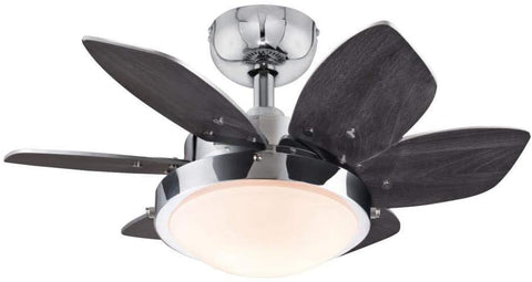 24 Inch Quince Indoor Ceiling Fan in Chrome Finish with Dimmable LED Light Fixture in Opal Frosted Glass with Reversible Wengue/Beech Blades