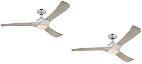 52-Inch Brushed Aluminum Indoor LED Ceiling Fan, Light Kit with Opal Frosted Glass (Brushed Aluminum 2 Pack)