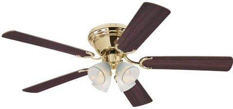 52 Inch Contempora IV Polished Brass Finish Indoor Ceiling Fan with Dimmable LED Light Fixture in Clear Ribbed Glass with Reversible Walnut/Oak Blades
